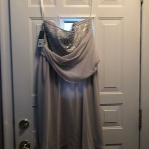 Donna Ricco Dresses - NWT silver grey sequin strapless dress size 14